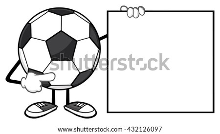 Soccer Ball Faceless Cartoon Mascot Character Pointing To A Blank Sign. Vector Illustration Isolated On White Background - stock vector