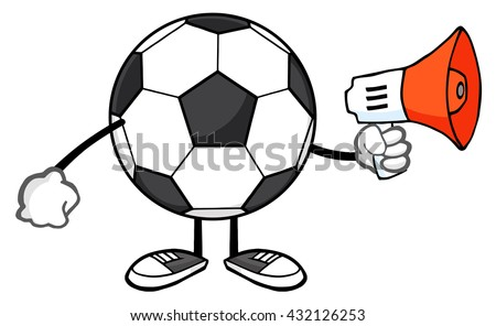 Soccer Ball Faceless Cartoon Mascot Character Using A Megaphone. Vector Illustration Isolated On White Background - stock vector