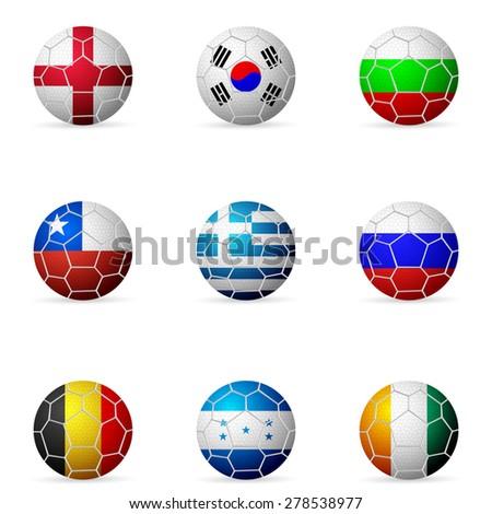 Soccer ball flag on a white background. - stock vector