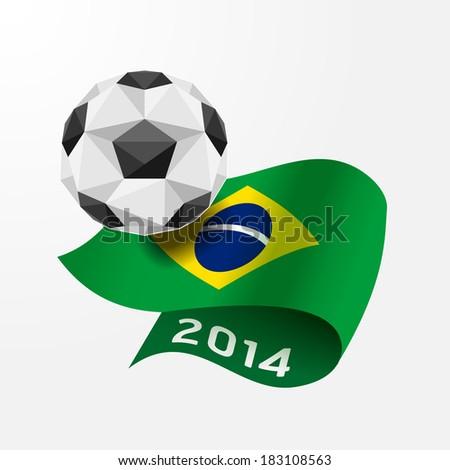 Soccer ball Geometric on Flag of Brazil 2014.Vector Illustration - stock vector