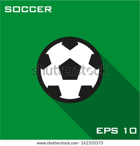 Soccer ball icon. Vector illustration flat design with long shadow. - stock vector