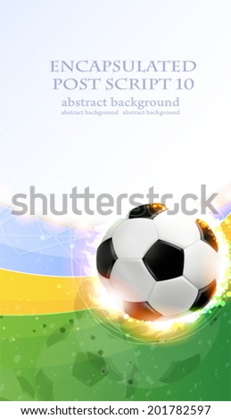 Soccer ball illuminated by spotlights on a green background. Abstract sports background.  - stock vector