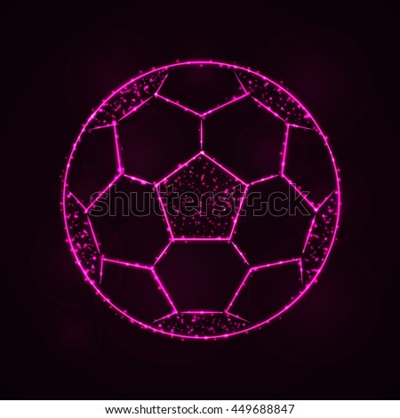 Soccer Ball Illustration Icon, Pink Color Lights Silhouette on Dark Background. Glowing Lines and Points - stock vector