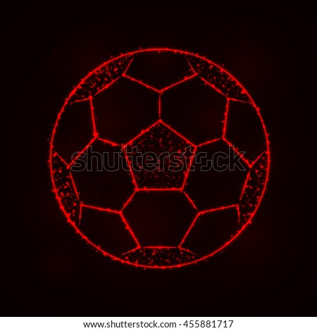 Soccer Ball Illustration Icon, Red Color Lights Silhouette on Dark Background. Glowing Lines and Points - stock vector