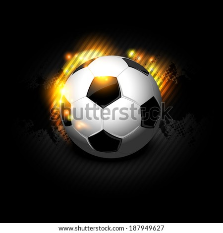 Soccer ball in fire isolated on black background - stock vector