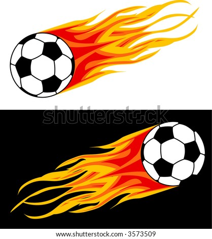 soccer ball in flame - stock vector