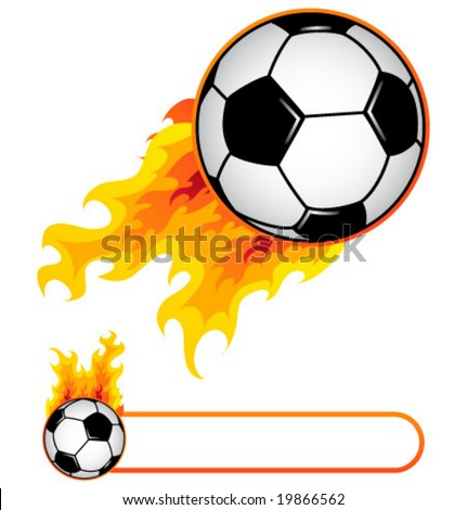 Soccer ball in flame and soccer flame banner. - stock vector
