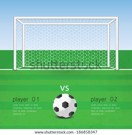soccer ball in front of goal - stock vector