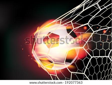 Soccer ball in goal net on fire flames, Vector illustration modern design template - stock vector