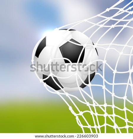 Soccer ball in goal - vector illustration - stock vector