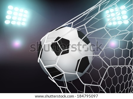 Soccer ball in the goal net on stadium with light, Vector illustration modern design template - stock vector