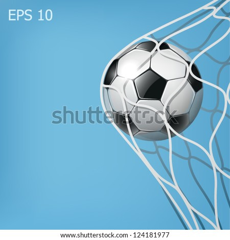 soccer ball in the goal net on the blue background eps10 illustration - stock vector