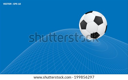 soccer ball on abstract wireframe background, vector  - stock vector
