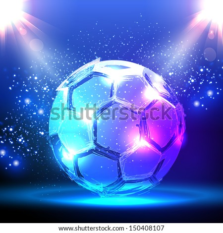 Soccer ball on blue spotlight - stock vector