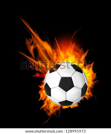 Soccer Ball on Fire. Illustration on black background - stock vector