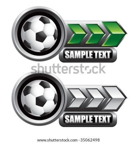 soccer ball on glossy arrow web button - stock vector