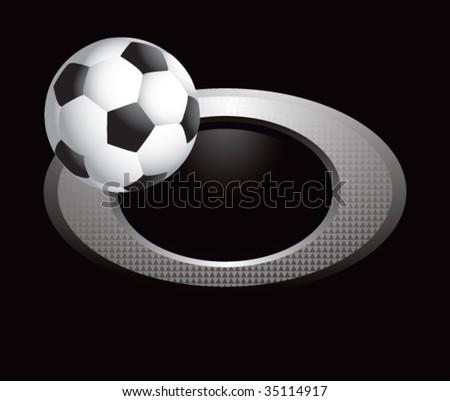 soccer ball on glossy diamond web button - stock vector