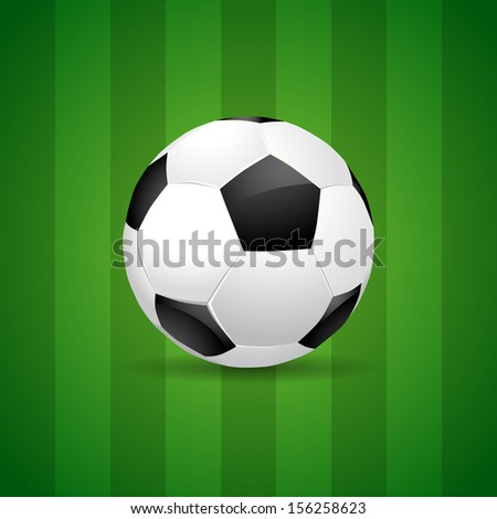 Soccer ball on green field - background vector eps10 - stock vector