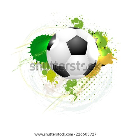 Soccer ball on grungy background - vector illustration - stock vector