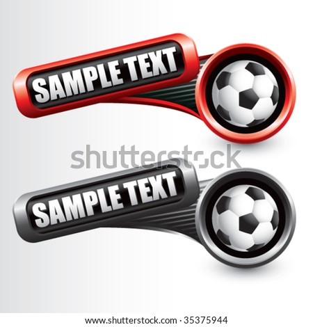 soccer ball on modern style tilted banners - stock vector