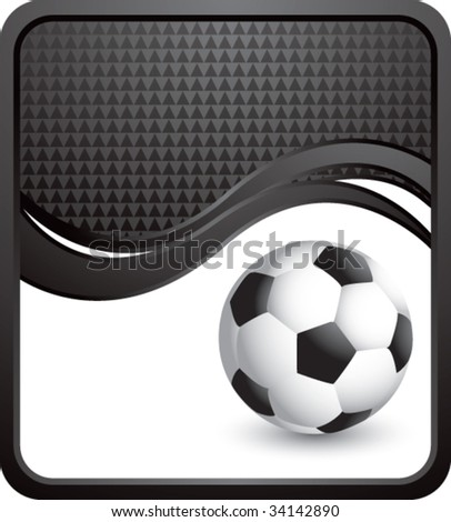 soccer ball on modern style wave background - stock vector