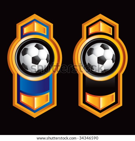 soccer ball on royal style displays - stock vector