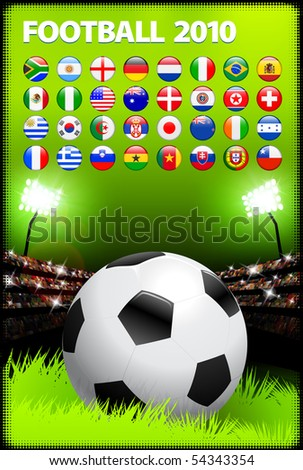 Soccer Ball on Stadium Background with Buttons Original Illustration - stock vector