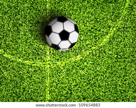 soccer ball on the grass soccer field - stock vector