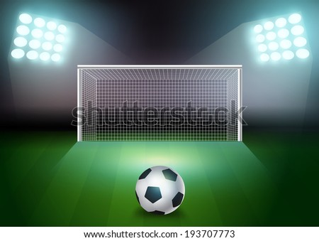 Soccer ball on the green field in soccer stadium, Vector illustration Modern template Design - stock vector