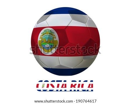 Soccer ball with costa rica flag isolated in white  - stock vector