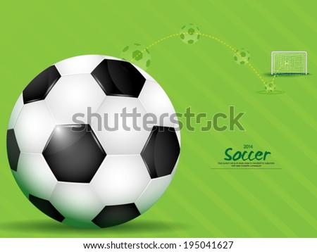Soccer ball with goal aim  - stock vector