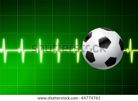 Soccer Ball with Green Pulse Original Vector Illustration AI8 Compatible - stock vector