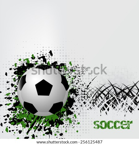 Soccer ball with grunge effect and grass/design with place for your content/vector illustration - stock vector