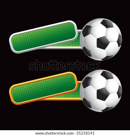 soccer balls on colored tilted banners - stock vector