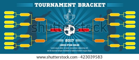 Soccer banner, European football tournament bracket with ball. Soccer match or football tournament, cup of championship vector illustration template - stock vector