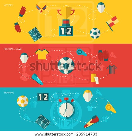 Soccer banners flat set with football game training victory isolated vector illustration - stock vector