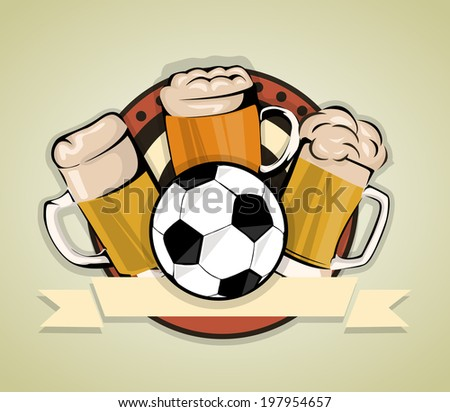 Soccer Beer Background - stock vector