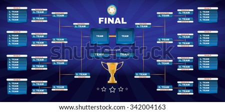 Soccer Champions Final Scoreboard Template on Dark Backdrop. Sports Tournament Chart for Groups and Teams. Soccer Playfield Digital Vector Illustration. - stock vector