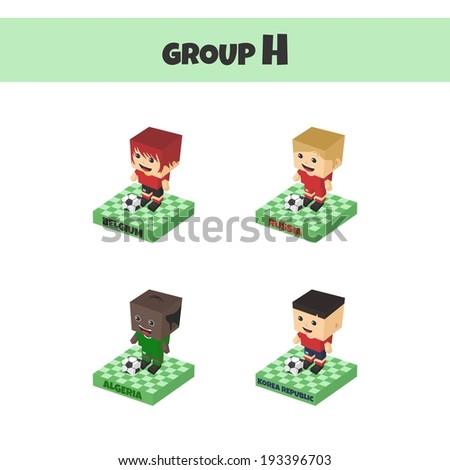 soccer championship cup block isometric cartoon character - stock vector