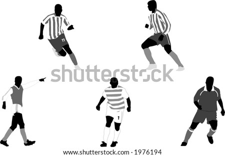 Soccer clubs and players illustrations - stock vector
