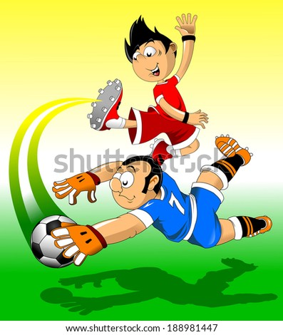 soccer design element, green background, vector-illustration) - stock vector