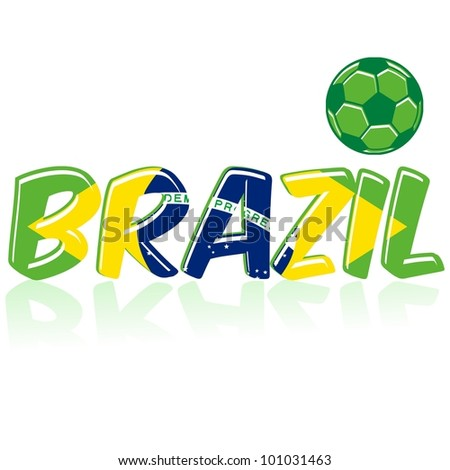 Soccer design with Brazil flag in background - stock vector