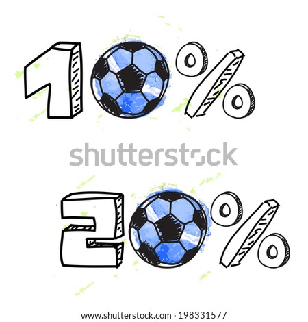 Soccer discount elements with balls on white background - stock vector