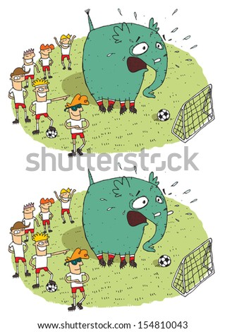Soccer Elephant Differences Visual Game. Task: find 10 differences! Solution in hidden layer (vector file only). Illustration is in eps8 vector mode! - stock vector