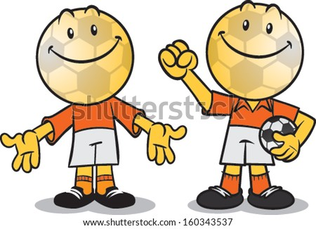 soccer fan with soccer ball head - stock vector