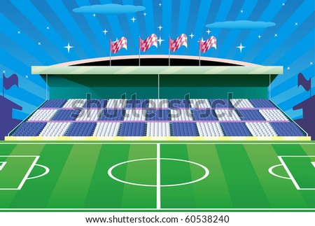 Soccer field and tribune detailed with blue and white seats. Vector illustration. - stock vector
