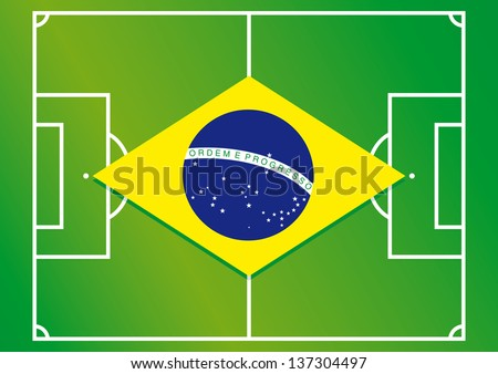 soccer field brazil flag vector illustration - stock vector