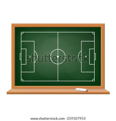 Soccer field drawn on a blackboard. Vector image. - stock vector