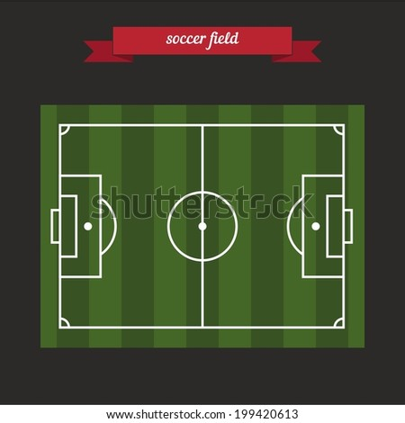 Soccer field. Flat style design - vector - stock vector