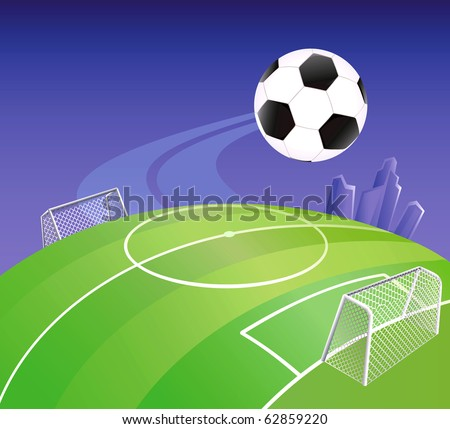 Soccer field on globe with detailed goals. Vector illustration. - stock vector